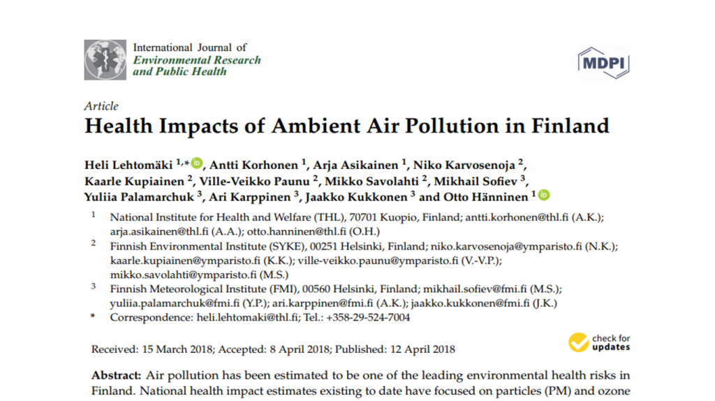 Health Impacts of Ambient Air Pollution in Finland – Life